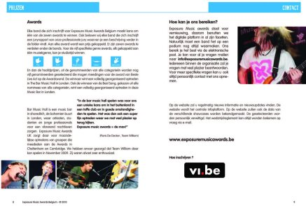 Booklet for the sponsors of the Exposure Music Awards 2011. (photos of Team William bottom left)