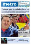 Frontpage of metro 9/10/2012. (photo of Zornik)