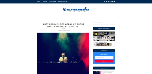 Nice article by Armada Music about Lost Frequencies featuring my photo (the first photo in the article). Article: http://blog.armadamusic.com/interviews/lost-frequencies-armada-deep/